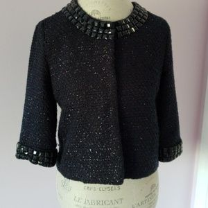 Cropped Box Chanel Style Navy Jacket M